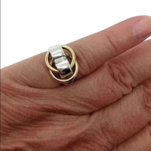 Hermes Paris Double Hoop Fashion Ring band  size 6